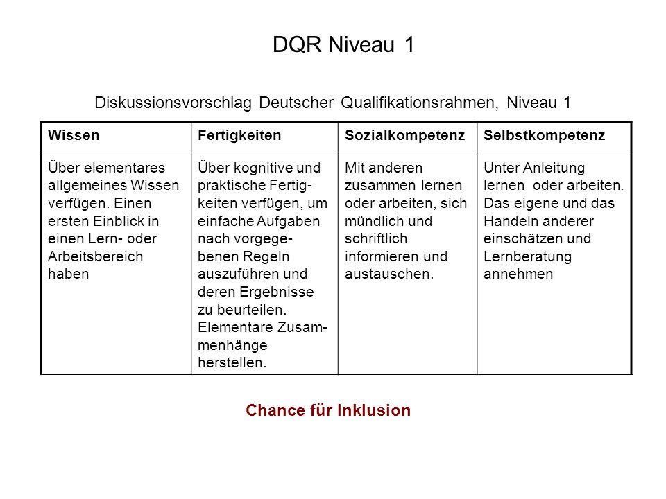 Diskussionsvorschlag Deutscher Qualifikationsrahmen, Niveau 1