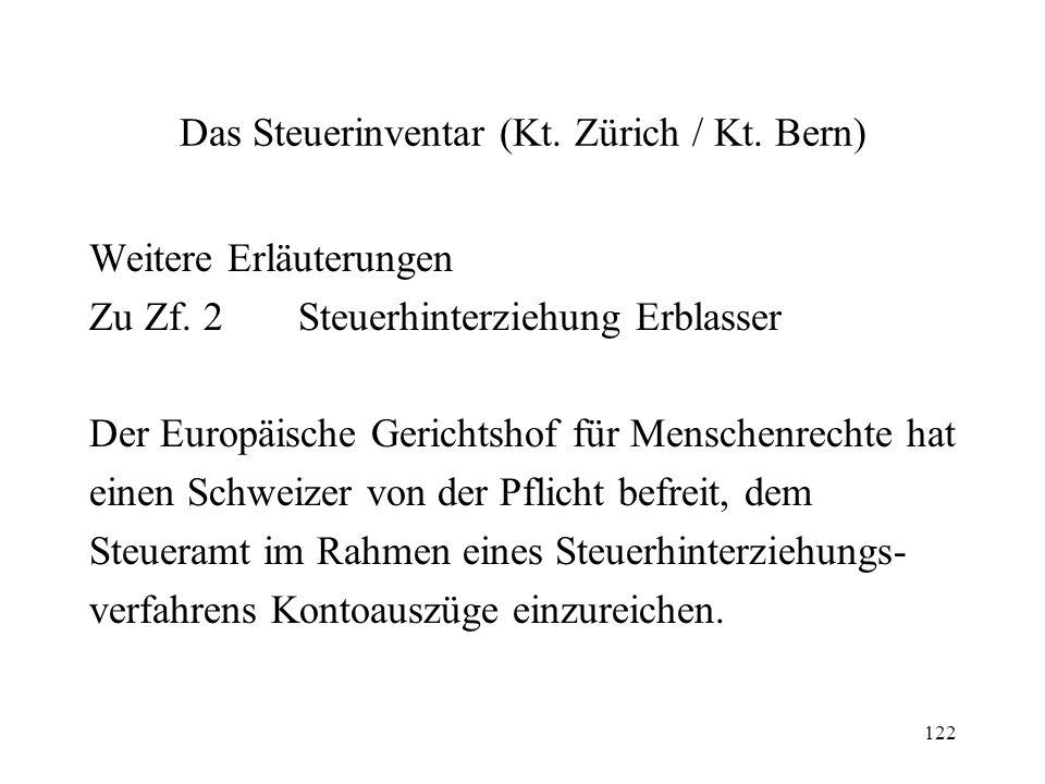 Das Steuerinventar (Kt. Zürich / Kt. Bern)