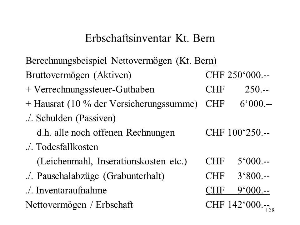 Erbschaftsinventar Kt. Bern