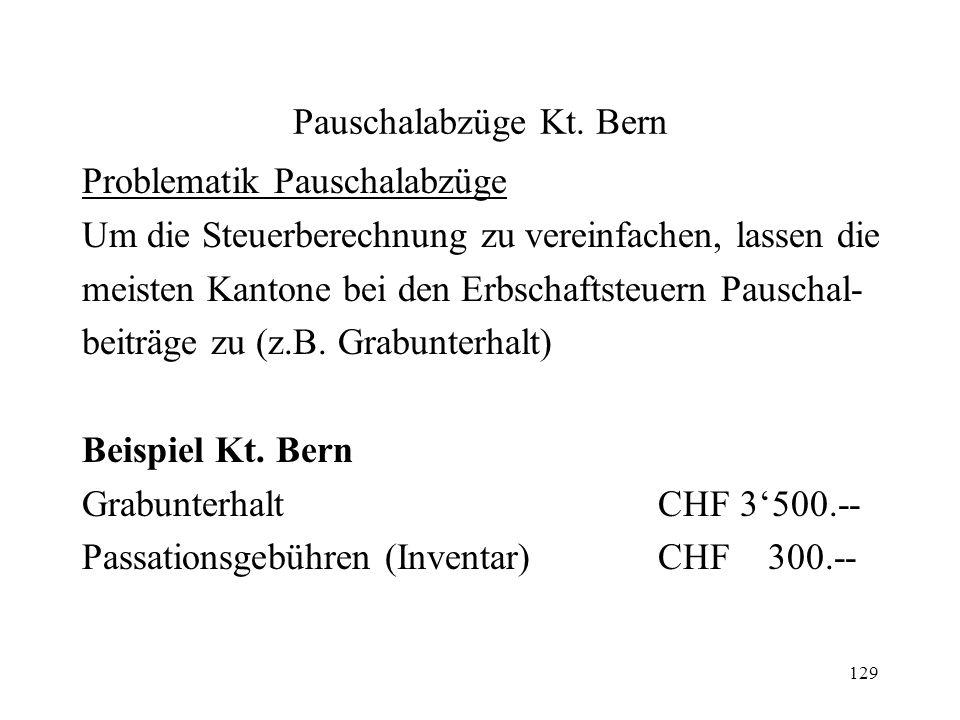 Pauschalabzüge Kt. Bern