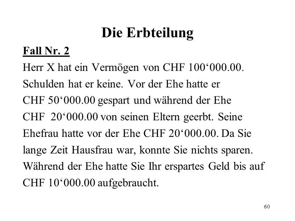 Die Erbteilung Fall Nr. 2 Herr X hat ein Vermögen von CHF 100'000.00.