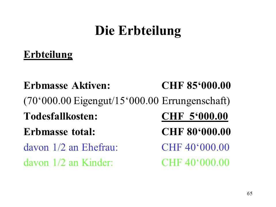 Die Erbteilung Erbteilung Erbmasse Aktiven: CHF 85'000.00