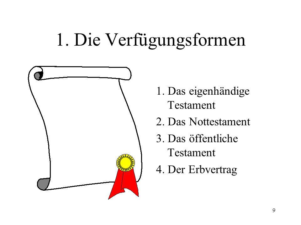 1. Die Verfügungsformen 1. Das eigenhändige Testament