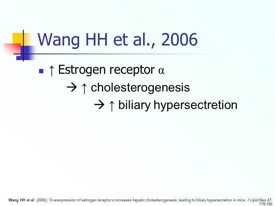 Wang HH et al., 2006 ↑ Estrogen receptor α  ↑ cholesterogenesis