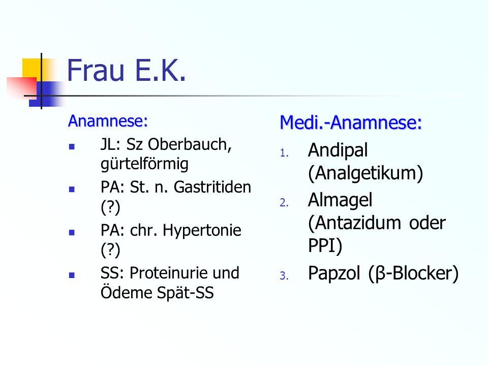 Frau E.K. Medi.-Anamnese: Andipal (Analgetikum)
