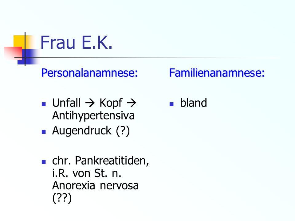 Frau E.K. Personalanamnese: Unfall  Kopf  Antihypertensiva