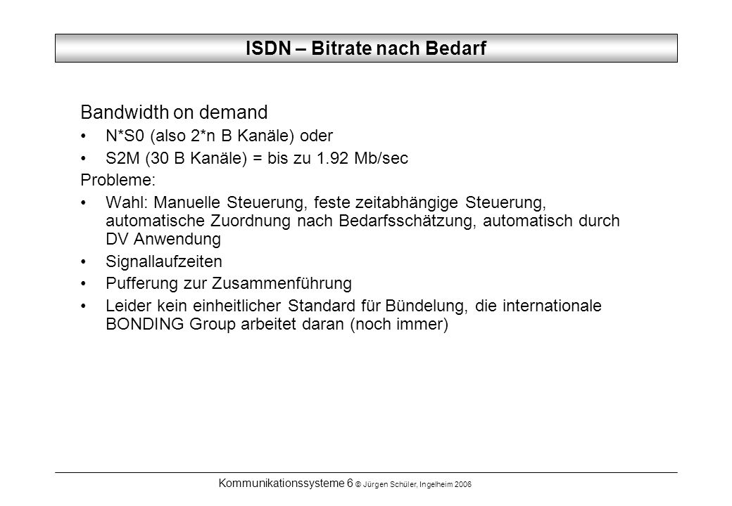 ISDN – Bitrate nach Bedarf