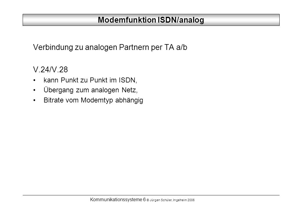 Modemfunktion ISDN/analog