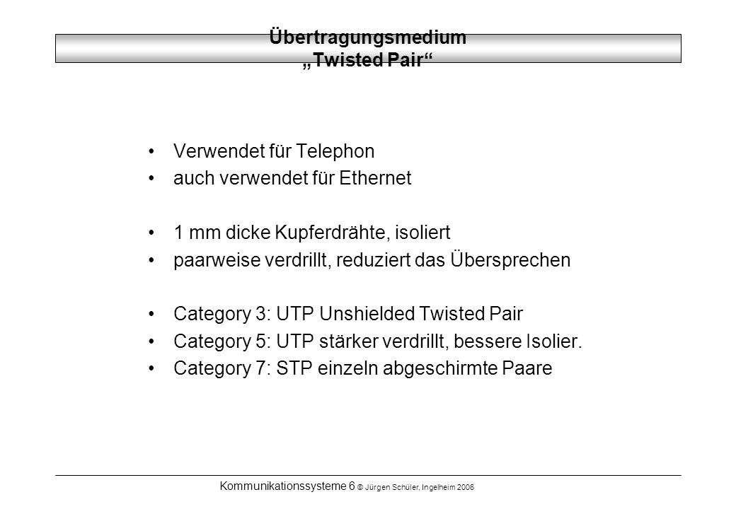 "Übertragungsmedium ""Twisted Pair"