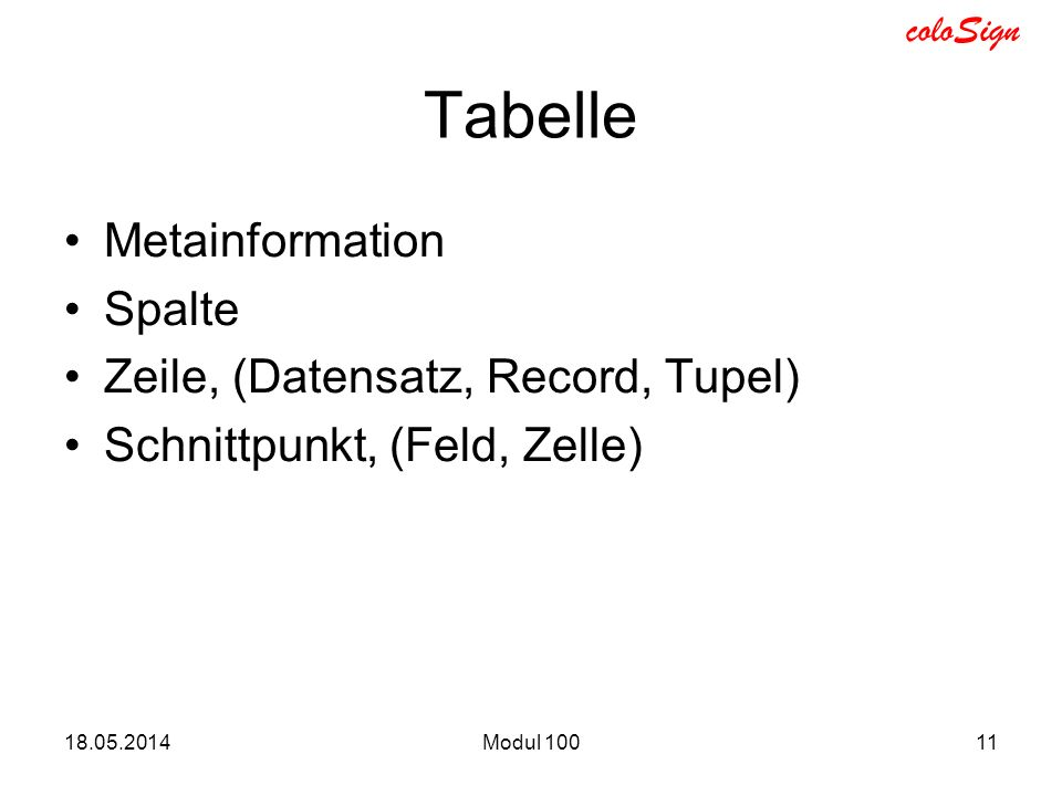 Tabelle Metainformation Spalte Zeile, (Datensatz, Record, Tupel)