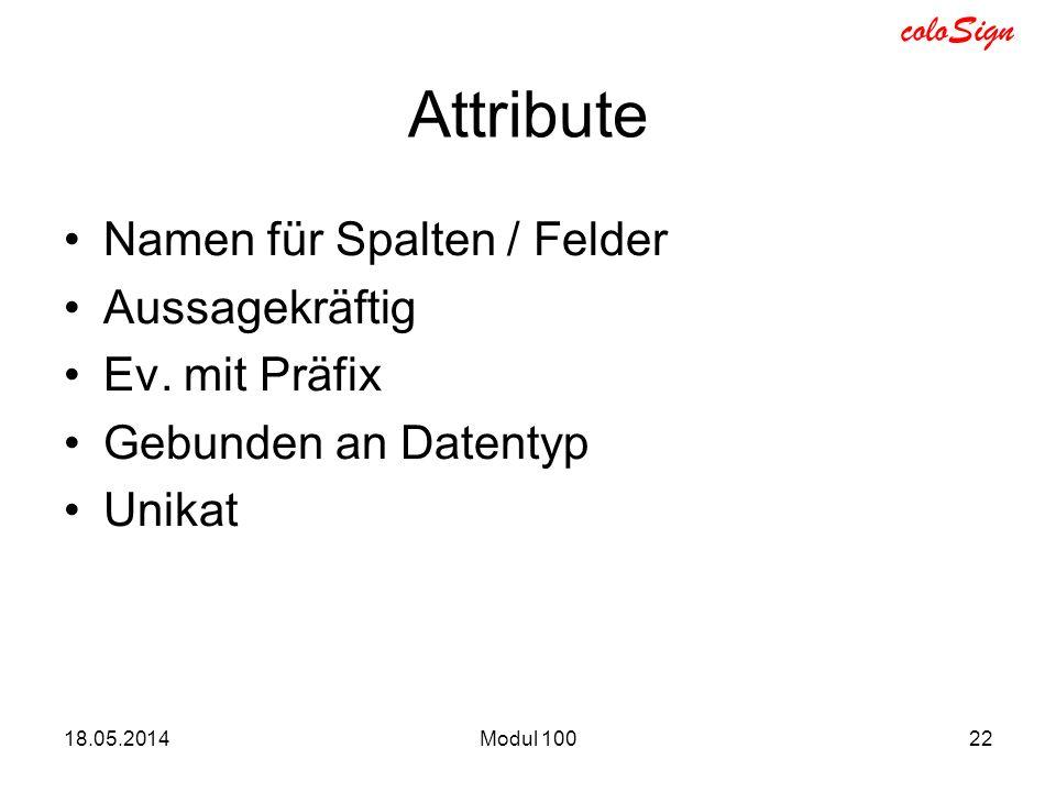 Attribute Namen für Spalten / Felder Aussagekräftig Ev. mit Präfix