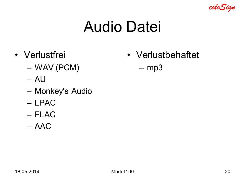 Audio Datei Verlustfrei Verlustbehaftet WAV (PCM) AU Monkey's Audio