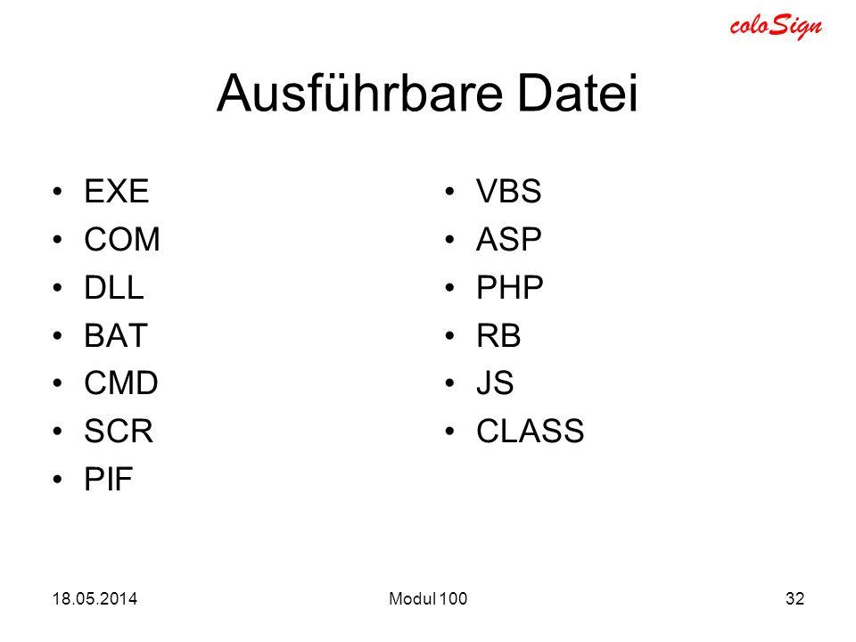 Ausführbare Datei EXE COM DLL BAT CMD SCR PIF VBS ASP PHP RB JS CLASS