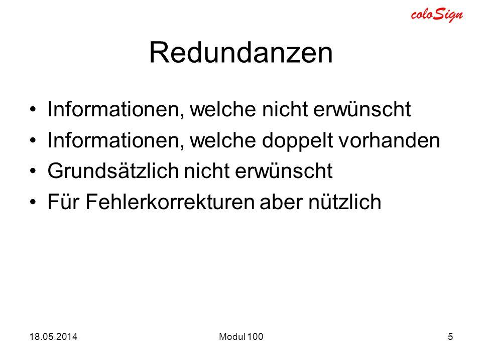 Redundanzen Informationen, welche nicht erwünscht