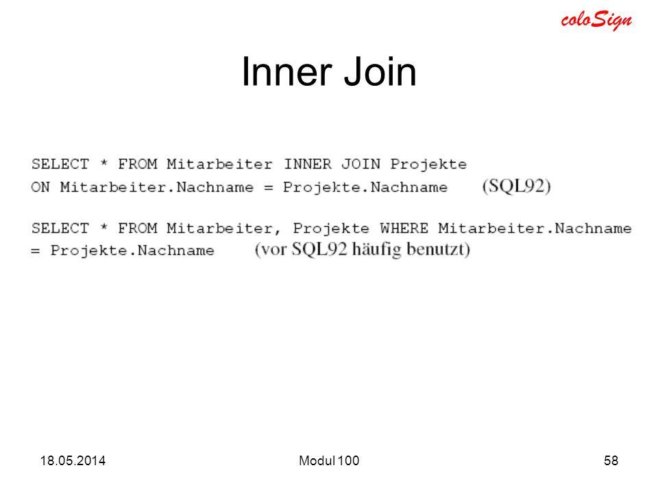 Inner Join 31.03.2017 Modul 100