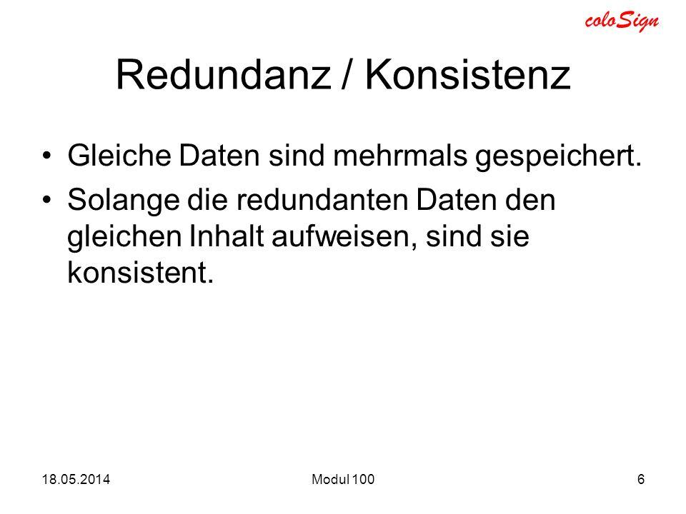 Redundanz / Konsistenz