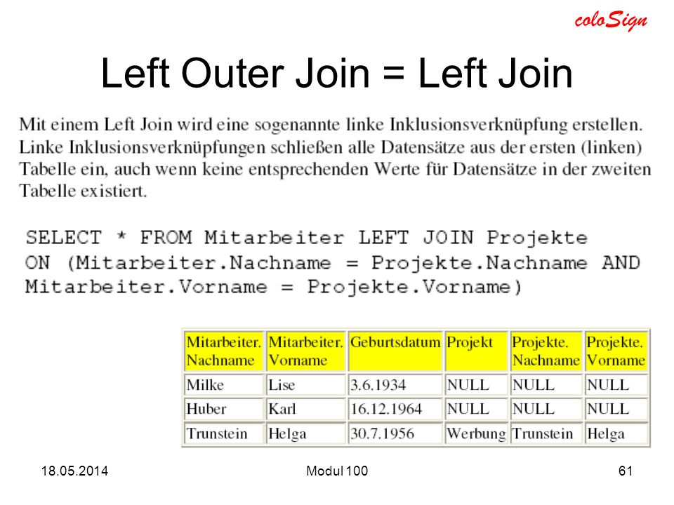 Left Outer Join = Left Join