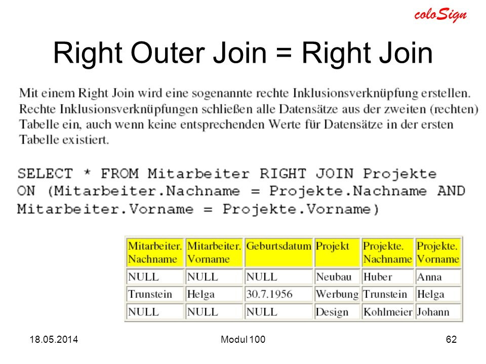 Right Outer Join = Right Join