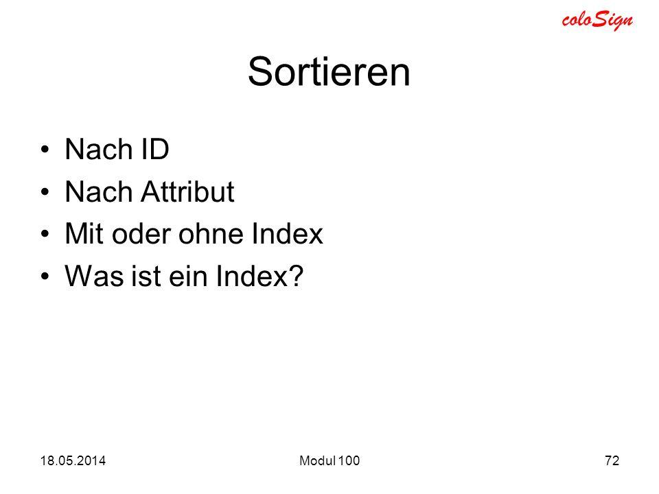 Sortieren Nach ID Nach Attribut Mit oder ohne Index Was ist ein Index