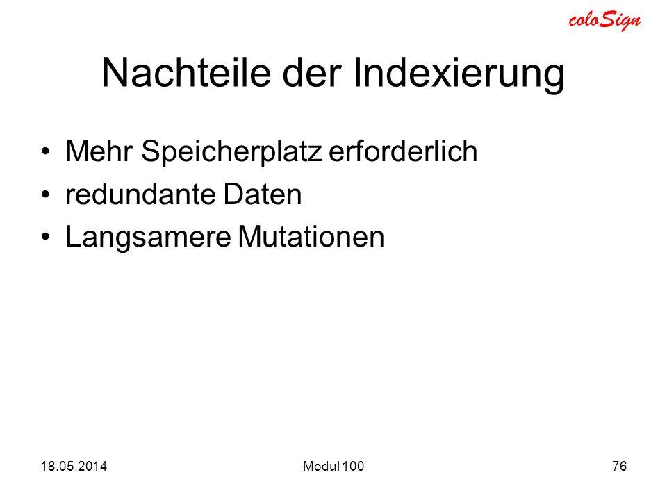 Nachteile der Indexierung