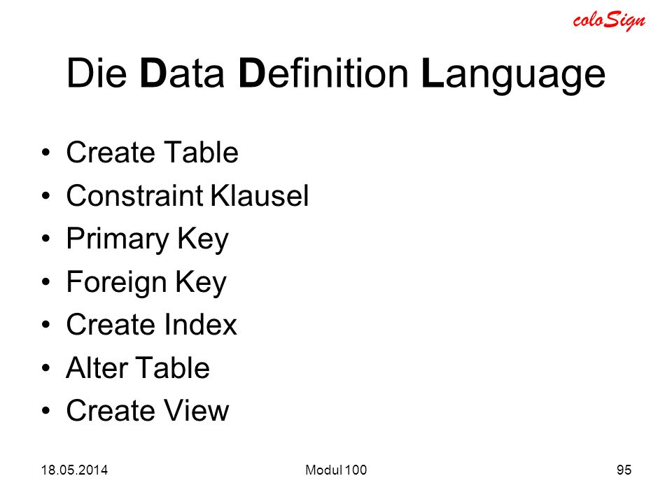 Die Data Definition Language