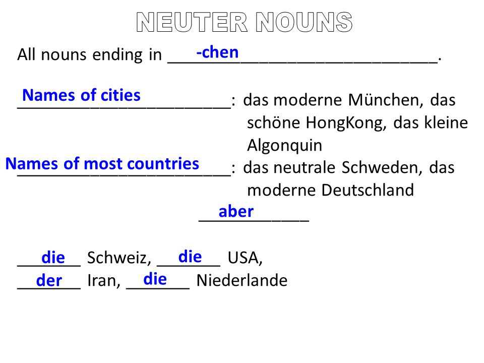NEUTER NOUNS All nouns ending in _____________________________. -chen