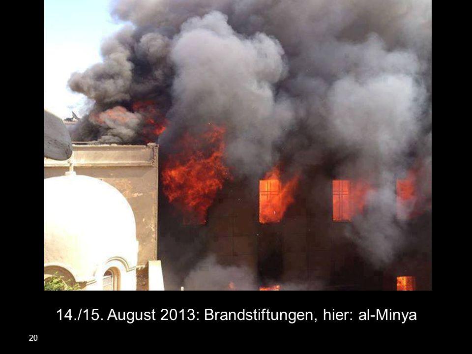 14./15. August 2013: Brandstiftungen, hier: al-Minya