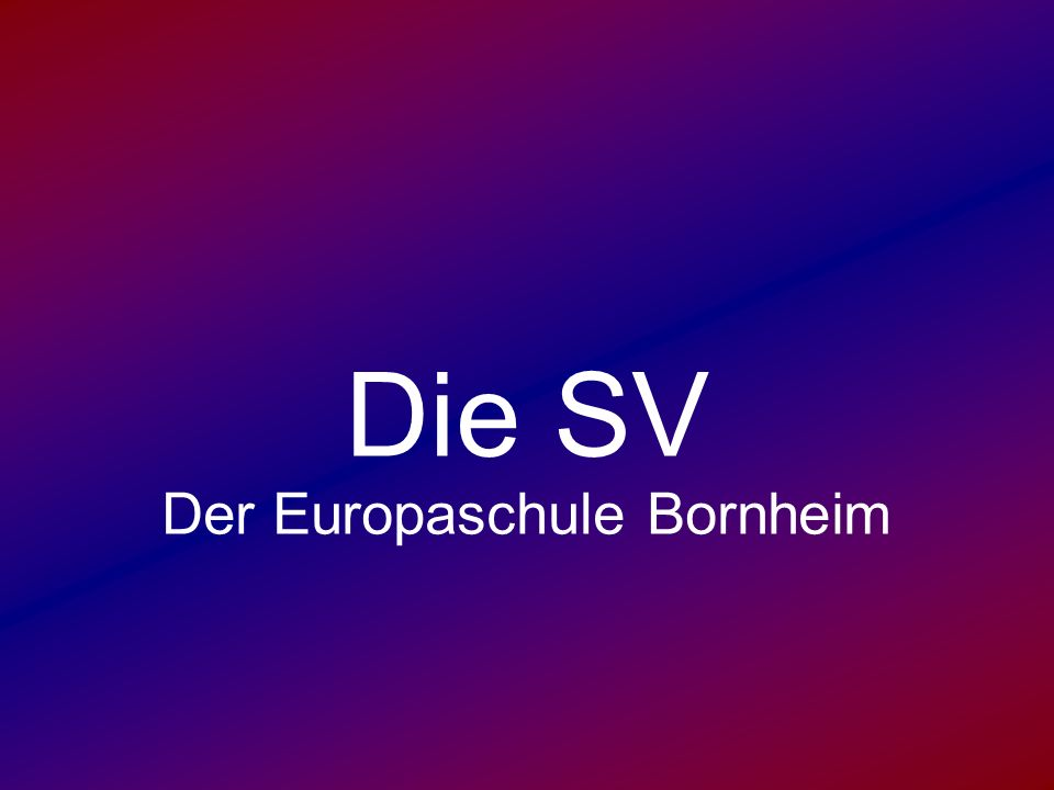 Die SV Der Europaschule Bornheim