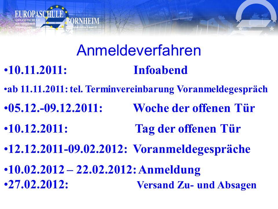 Anmeldeverfahren 10.11.2011: Infoabend