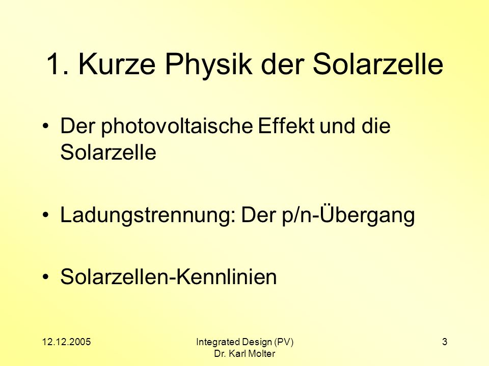 1. Kurze Physik der Solarzelle