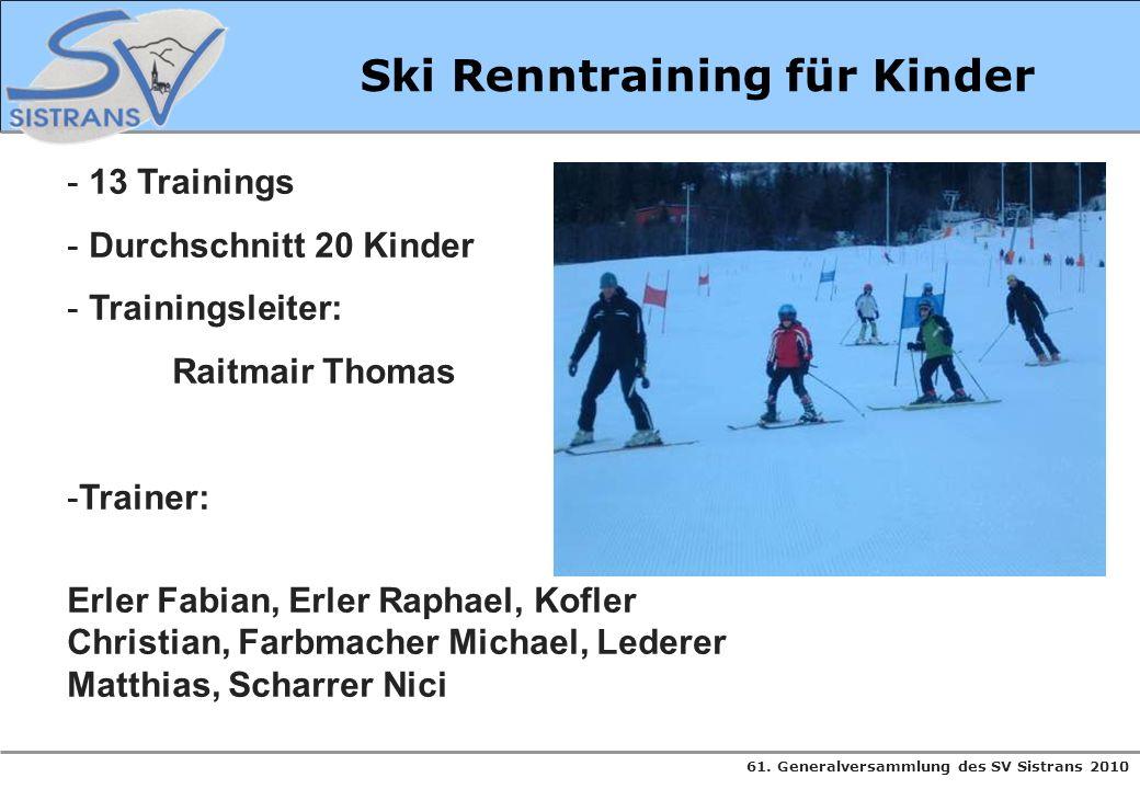 Ski Renntraining für Kinder