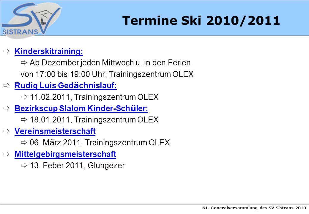 Termine Ski 2010/2011 Kinderskitraining: