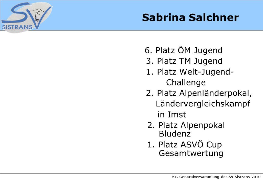 Sabrina Salchner 3. Platz TM Jugend 1. Platz Welt-Jugend- Challenge