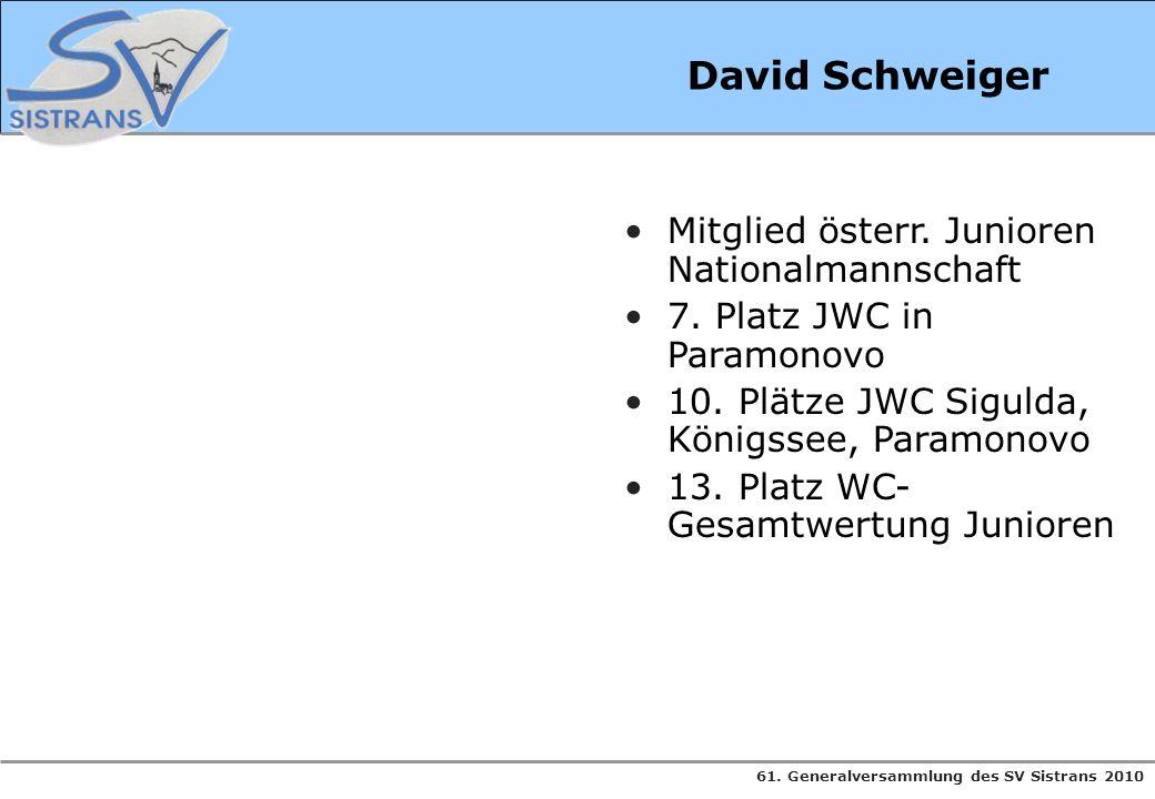 David Schweiger Mitglied österr. Junioren Nationalmannschaft
