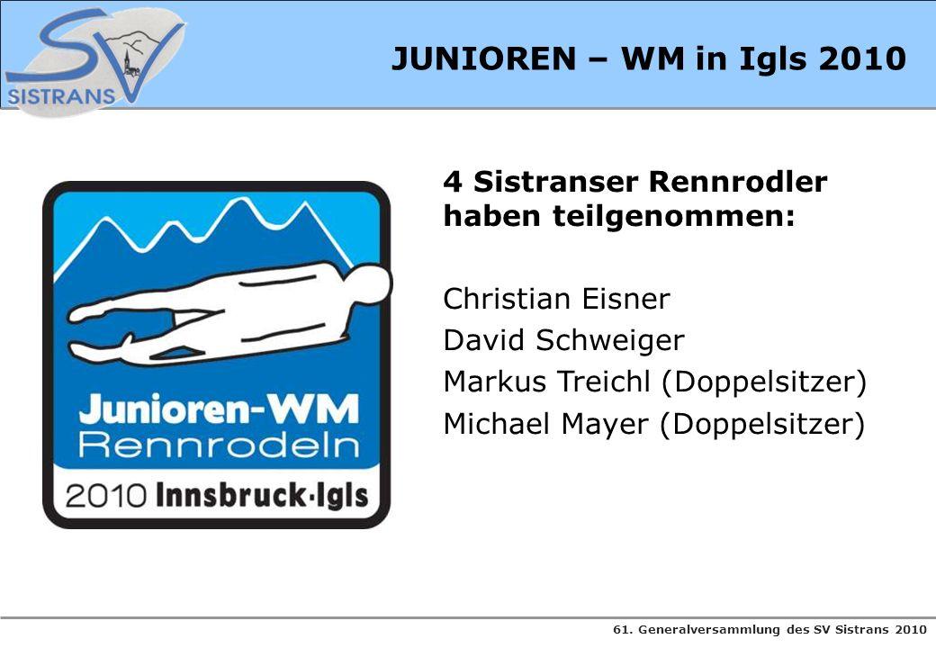 JUNIOREN – WM in Igls 2010 4 Sistranser Rennrodler haben teilgenommen: