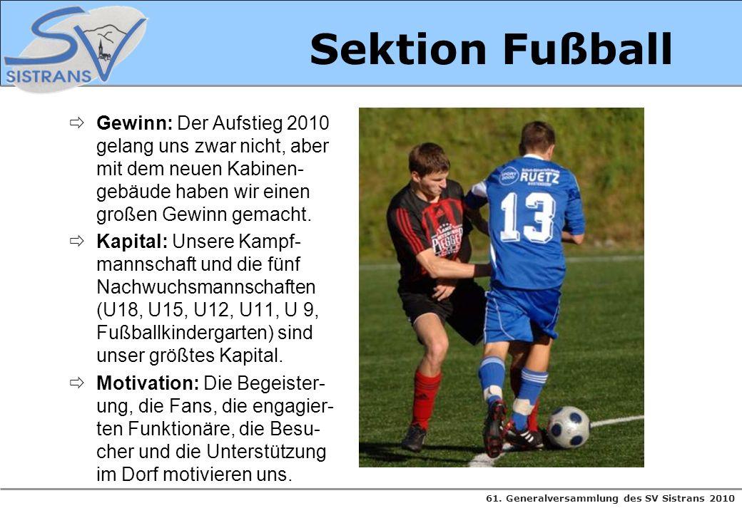 Sektion Fußball Gewinn: Der Aufstieg 2010 gelang uns zwar nicht, aber mit dem neuen Kabinen-gebäude haben wir einen großen Gewinn gemacht.