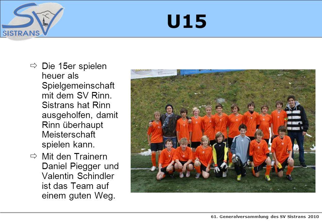 U15 Die 15er spielen heuer als Spielgemeinschaft mit dem SV Rinn. Sistrans hat Rinn ausgeholfen, damit Rinn überhaupt Meisterschaft spielen kann.