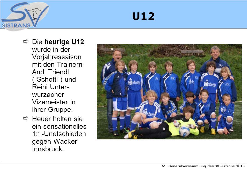 """U12 Die heurige U12 wurde in der Vorjahressaison mit den Trainern Andi Triendl (""""Schotti ) und Reini Unter-wurzacher Vizemeister in ihrer Gruppe."""