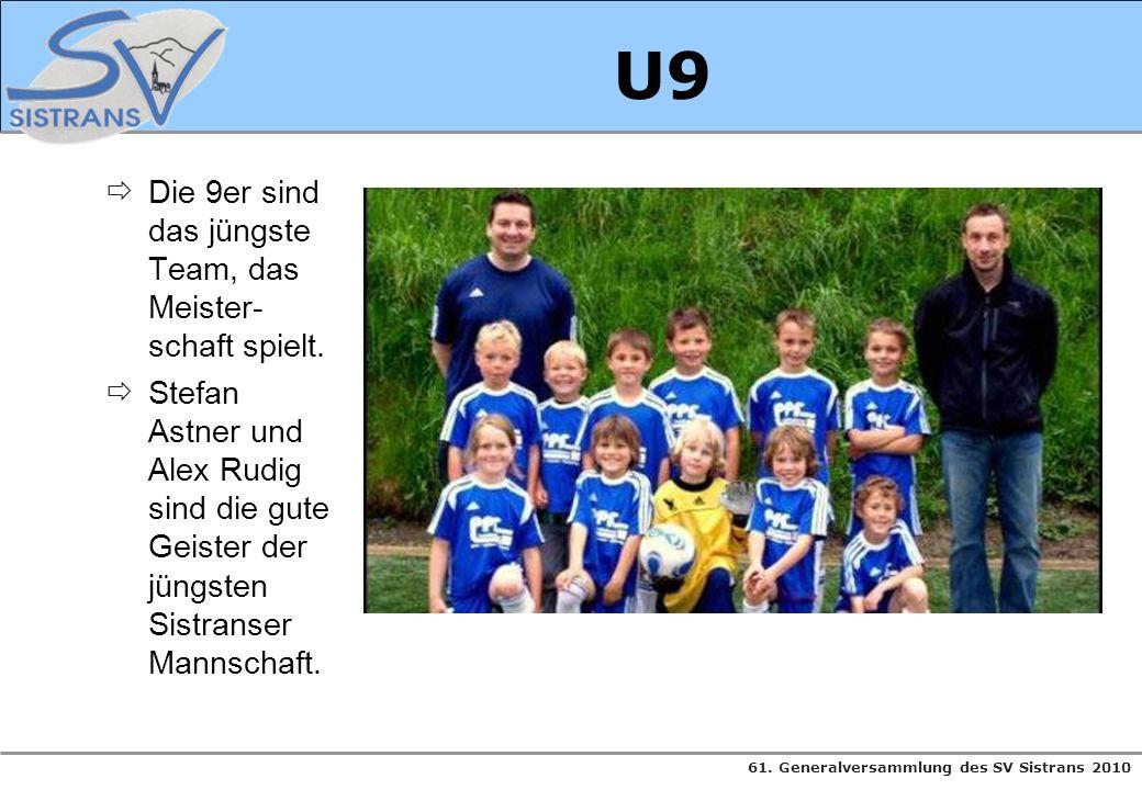 U9 Die 9er sind das jüngste Team, das Meister-schaft spielt.
