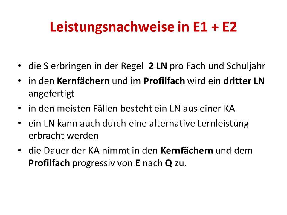 Leistungsnachweise in E1 + E2