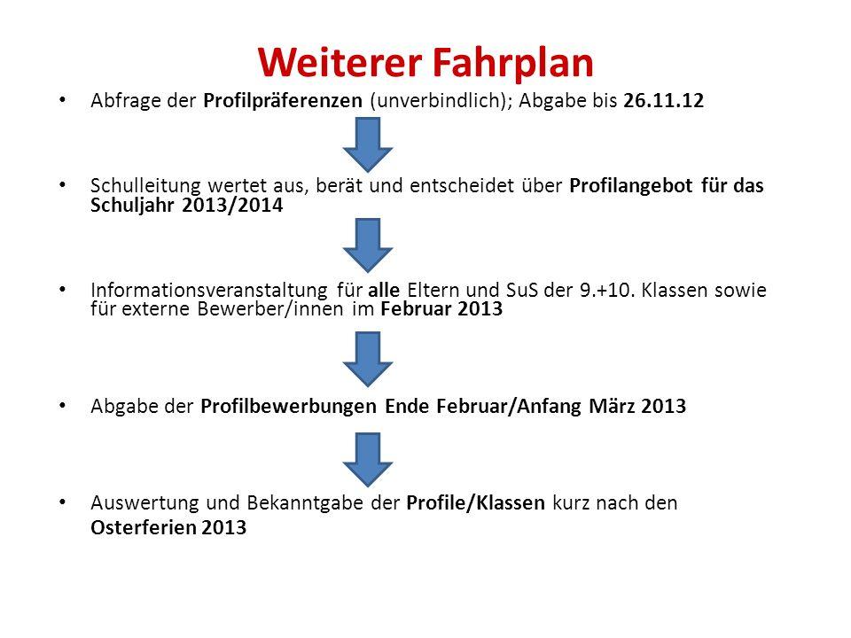 Weiterer Fahrplan Abfrage der Profilpräferenzen (unverbindlich); Abgabe bis 26.11.12.