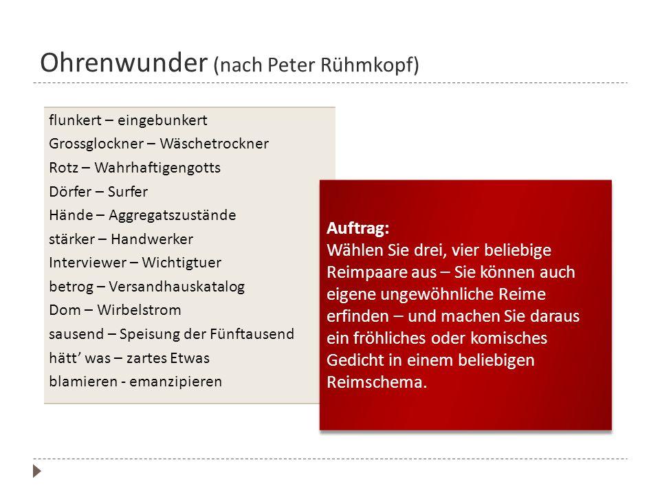 Ohrenwunder (nach Peter Rühmkopf)