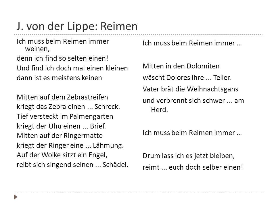 J. von der Lippe: Reimen