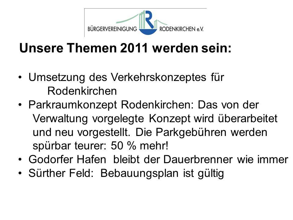 Unsere Themen 2011 werden sein: