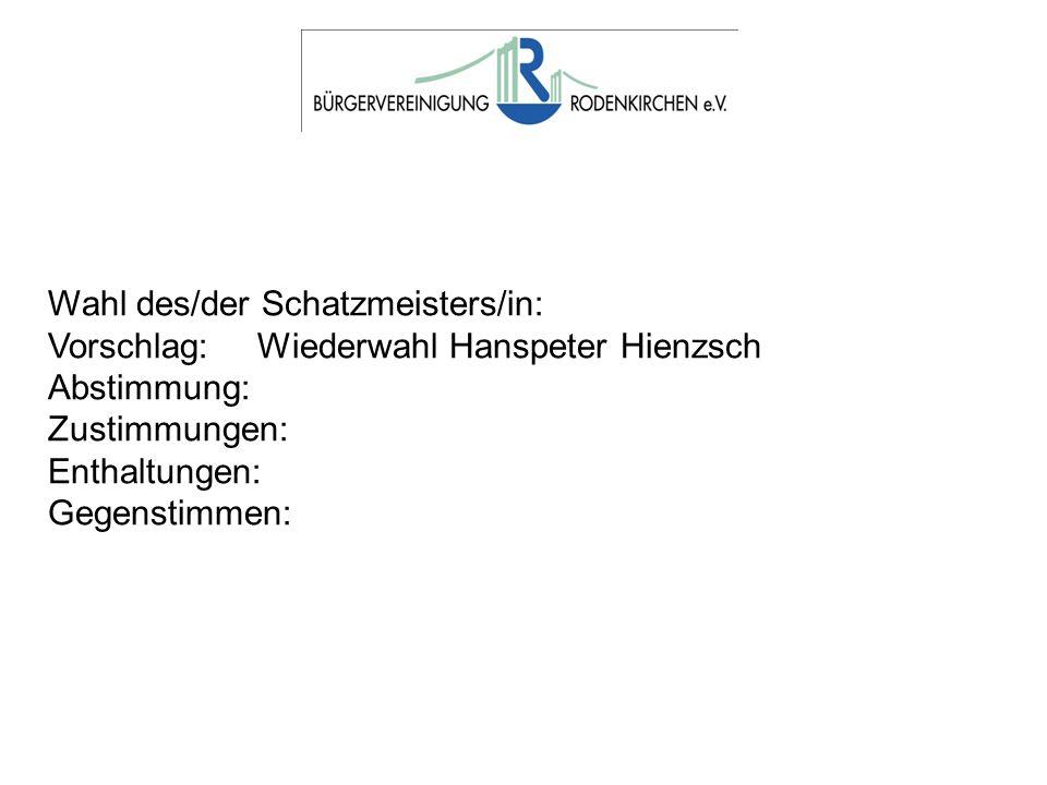 Wahl des/der Schatzmeisters/in: