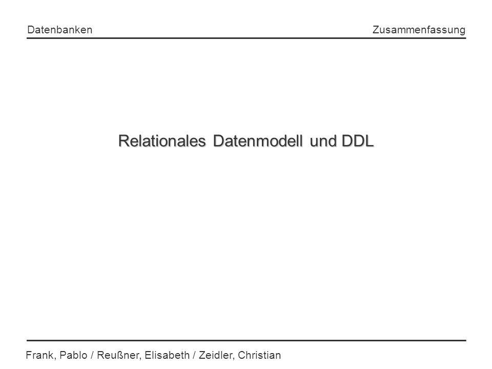 Relationales Datenmodell und DDL