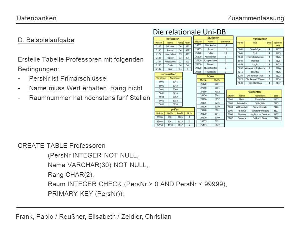 Erstelle Tabelle Professoren mit folgenden Bedingungen: