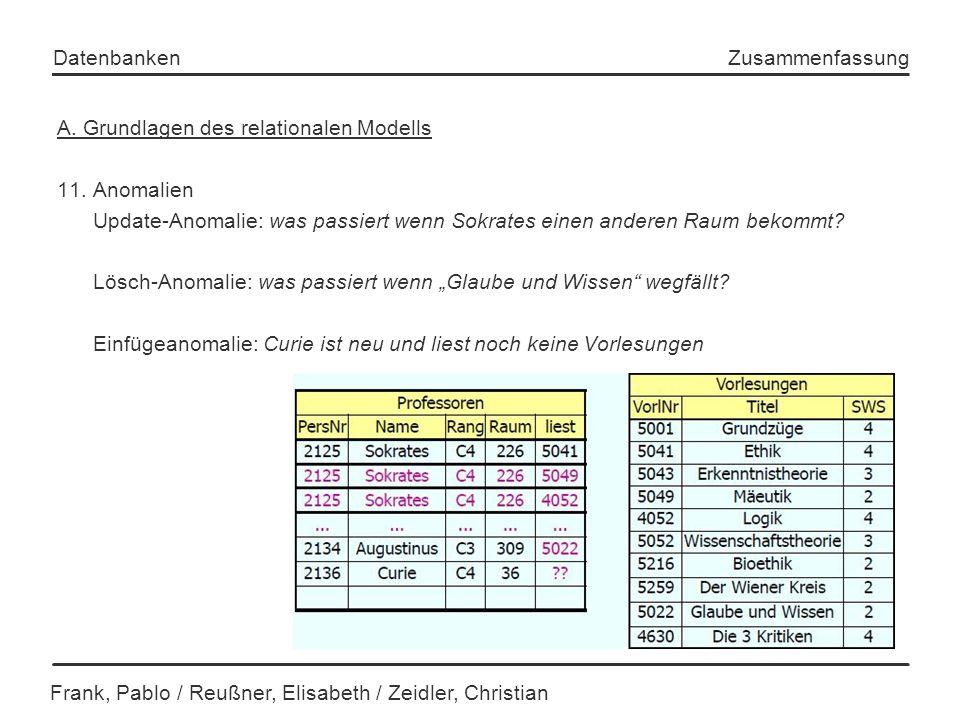 A. Grundlagen des relationalen Modells 11. Anomalien