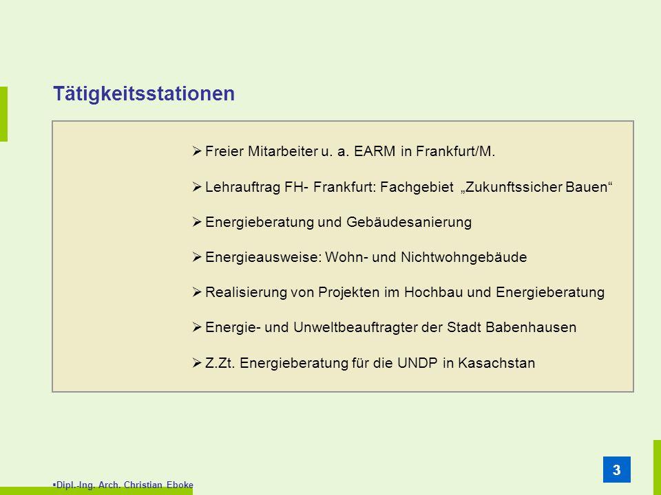 Tätigkeitsstationen Freier Mitarbeiter u. a. EARM in Frankfurt/M.