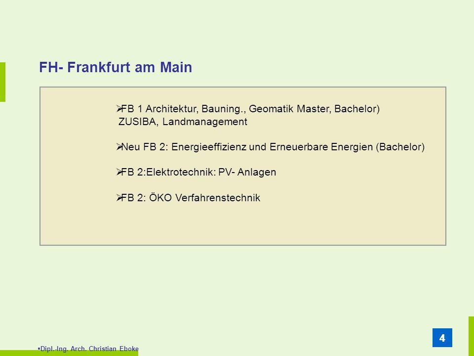 FH- Frankfurt am Main FB 1 Architektur, Bauning., Geomatik Master, Bachelor) ZUSIBA, Landmanagement.